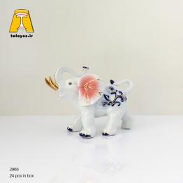 مجسمه دکوری فیل چینی کوچک صورتی
