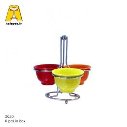 چینی سرامیک اردو خوری 3تایی پایه سیلور بزرگ رنگی