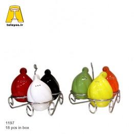 چینی سرامیک نمکدان 3تایی اشکی استندار رنگی