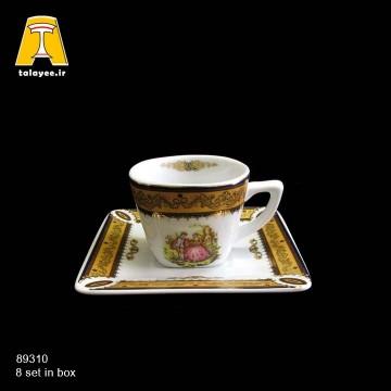 چینی تقدیس لمونژ طلایی 12 پارچه قهوه خوری فلت