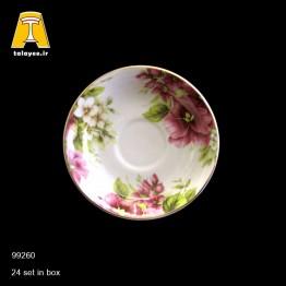 چینی تقدیس نعلبکی گل زرشکی لب طلا