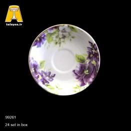 چینی تقدیس نعلبکی گل بنفش لب طلا