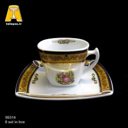 چینی تقدیس لمونژ طلایی 12 پارچه چایخوری کوئین