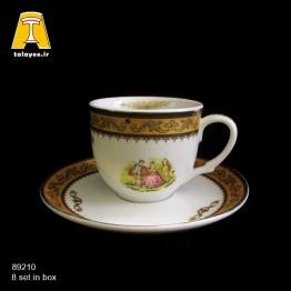 چینی تقدیس لمونژ طلایی 12 پارچه چایخوری گرد