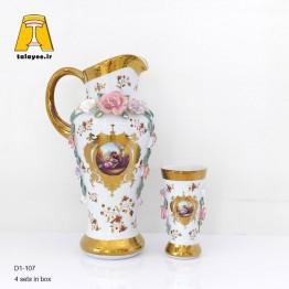 لمونژ سفید پارچ و لیوان گل برجسته